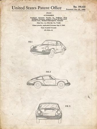PP144- Vintage Parchment 1964 Porsche 911  Patent Poster