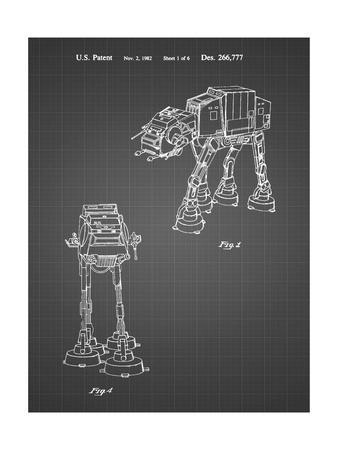 PP146- Black Grid Star Wars AT-AT Imperial Walker Patent Poster