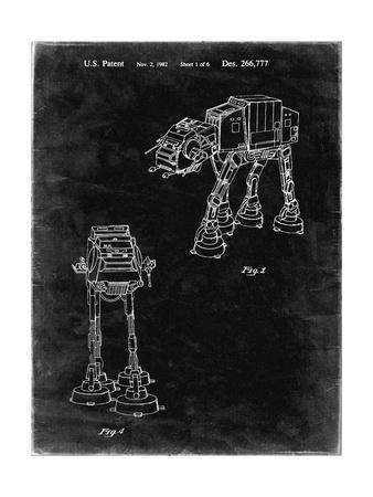 PP146- Black Grunge Star Wars AT-AT Imperial Walker Patent Poster