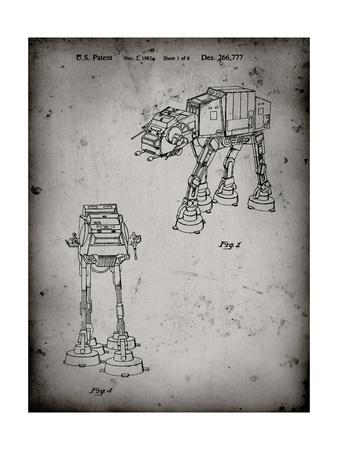 PP146- Faded Grey Star Wars AT-AT Imperial Walker Patent Poster