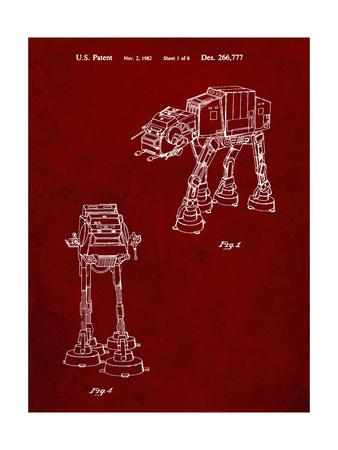 PP146- Burgundy Star Wars AT-AT Imperial Walker Patent Poster