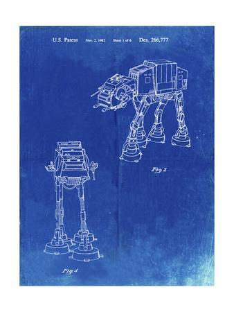PP146- Faded Blueprint Star Wars AT-AT Imperial Walker Patent Poster
