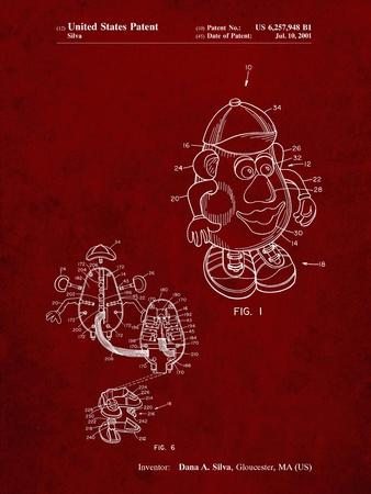 PP123- Burgundy Mr. Potato Head Patent Poster