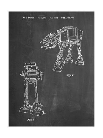 PP146- Chalkboard Star Wars AT-AT Imperial Walker Patent Poster