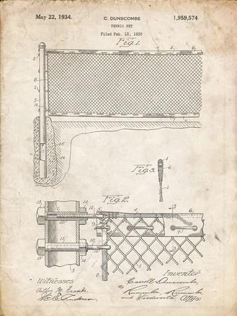 PP181- Vintage Parchment Tennis Net Patent Poster