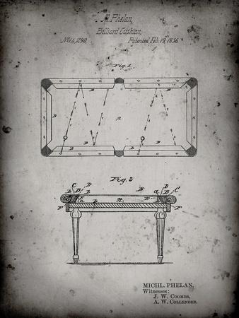 PP149- Faded Grey Pool Table Patent Poster