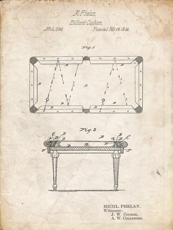 PP149- Vintage Parchment Pool Table Patent Poster