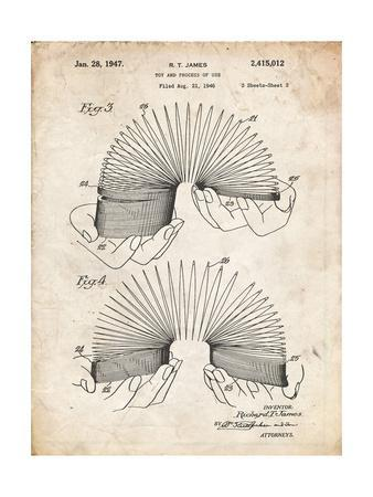 PP125- Vintage Parchment Slinky Toy Patent Poster