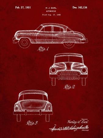 PP134- Burgundy Buick Super 1949 Car Patent Poster