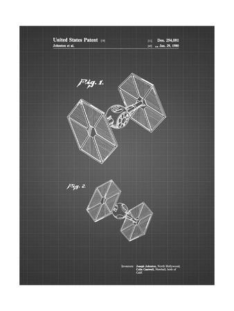 PP211-Black Grid Star Wars TIE Fighter Patent Poster