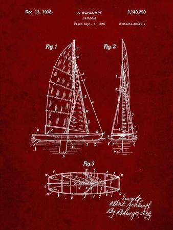PP216-Burgundy Schlumpf Sailboat Patent Poster