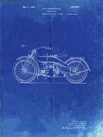 PP194- Faded Blueprint Harley Davidson Motorcycle 1919 Patent Poster