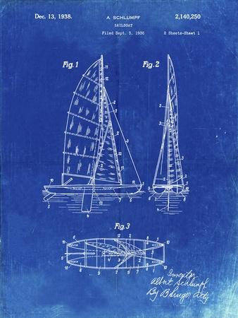 PP216-Faded Blueprint Schlumpf Sailboat Patent Poster