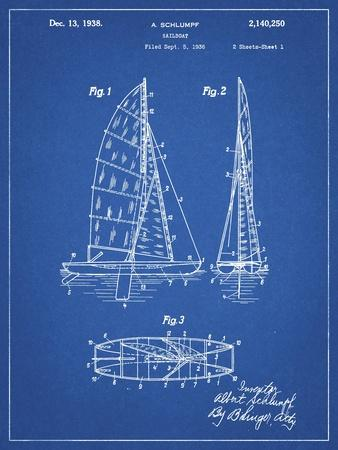 PP216-Blueprint Schlumpf Sailboat Patent Poster