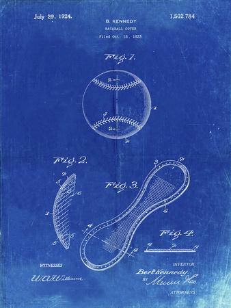 PP271-Faded Blueprint Vintage Baseball 1924 Patent Poster
