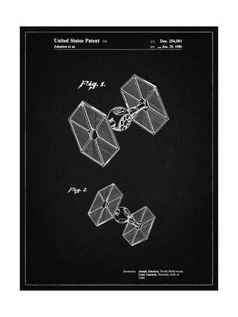 PP211-Vintage Black Star Wars TIE Fighter Patent Poster