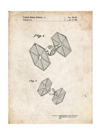 PP211-Vintage Parchment Star Wars TIE Fighter Patent Poster