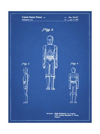 PP195- Blueprint Star Wars C-3PO Patent Poster