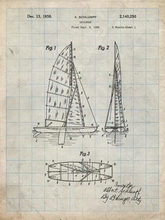 PP216-Antique Grid Parchment Schlumpf Sailboat Patent Poster