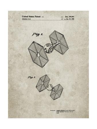 PP211-Sandstone Star Wars TIE Fighter Patent Poster