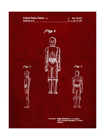 PP195- Burgundy Star Wars C-3PO Patent Poster