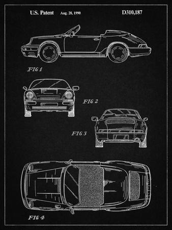 PP305-Vintage Black Porsche 911 Carrera Patent Poster