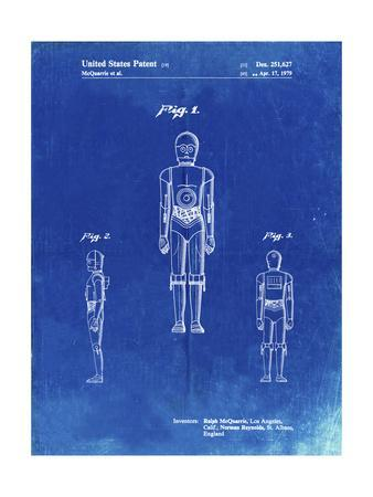 PP195- Faded Blueprint Star Wars C-3PO Patent Poster