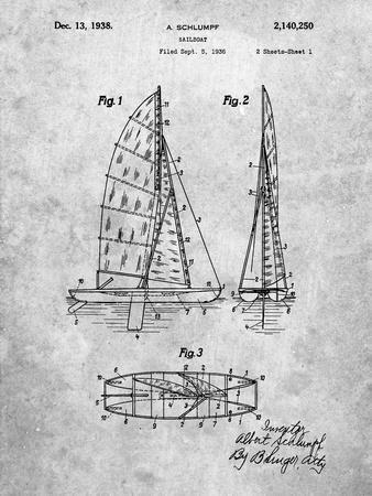 PP216-Slate Schlumpf Sailboat Patent Poster