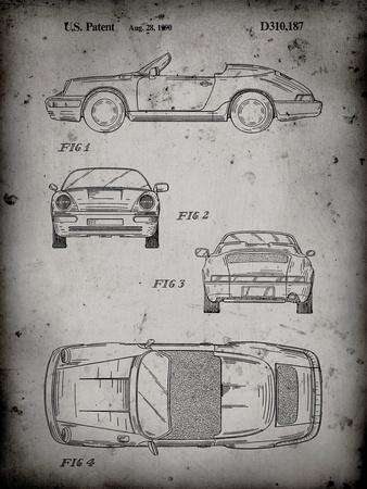 PP305-Faded Grey Porsche 911 Carrera Patent Poster