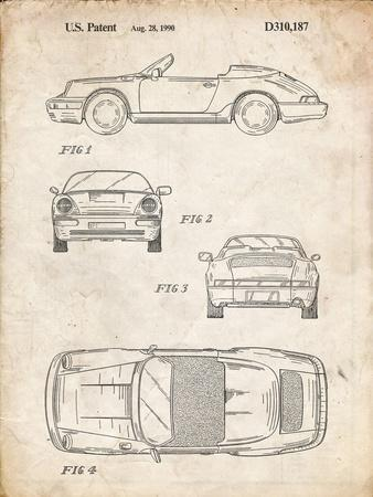 PP305-Vintage Parchment Porsche 911 Carrera Patent Poster
