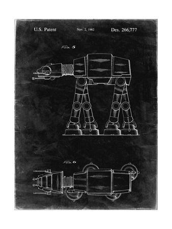 PP224-Black Grunge Star Wars AT-AT Imperial Walker Patent Poster
