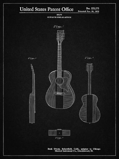 Pp306 Vintage Black Buck Owens American Guitar Patent Poster Giclee
