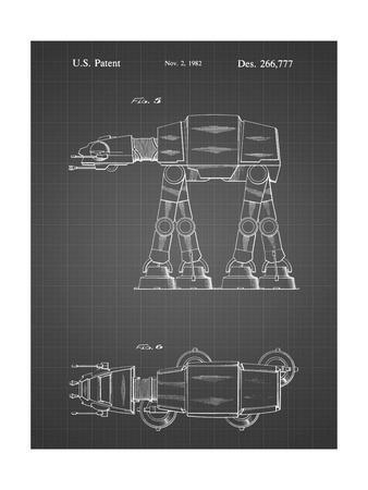 PP224-Black Grid Star Wars AT-AT Imperial Walker Patent Poster