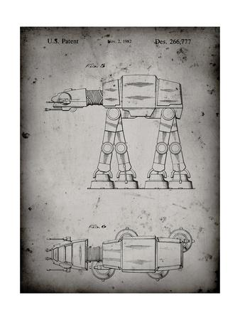 PP224-Faded Grey Star Wars AT-AT Imperial Walker Patent Poster