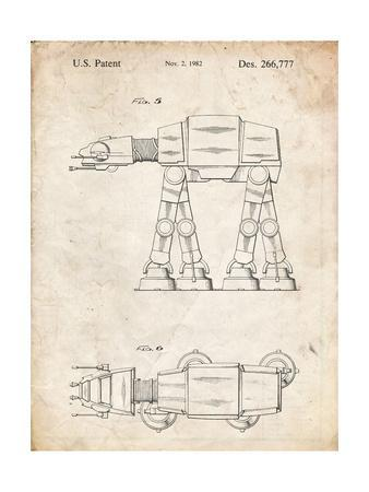 PP224-Vintage Parchment Star Wars AT-AT Imperial Walker Patent Poster