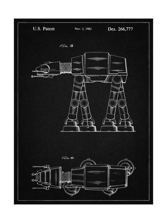 PP224-Vintage Black Star Wars AT-AT Imperial Walker Patent Poster