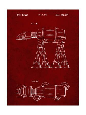 PP224-Burgundy Star Wars AT-AT Imperial Walker Patent Poster