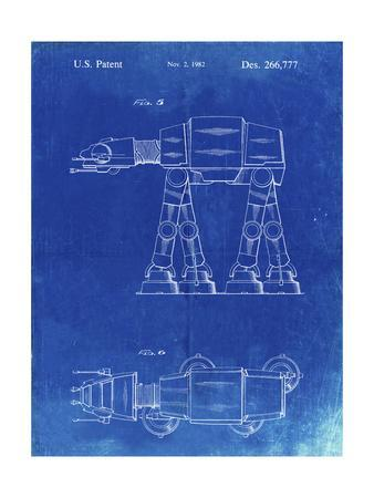 PP224-Faded Blueprint Star Wars AT-AT Imperial Walker Patent Poster