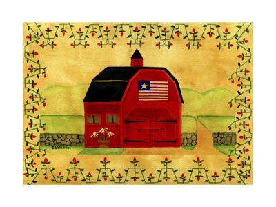 Primtive American Red Folk Art Barn