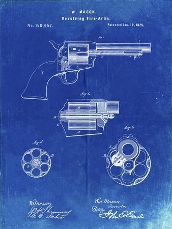 PP1119-Faded Blueprint US Firearms Single Action Army Revolver Patent Poster