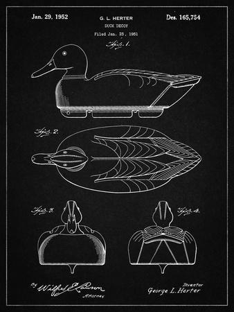 PP1001-Vintage Black Propelled Duck Decoy Patent Poster