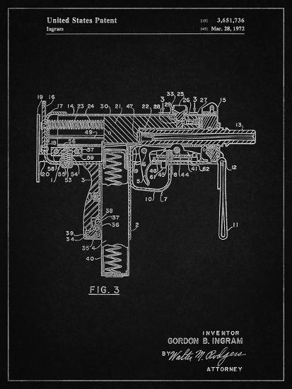 PP584-Vintage Black Mac-10 Uzi Patent Poster