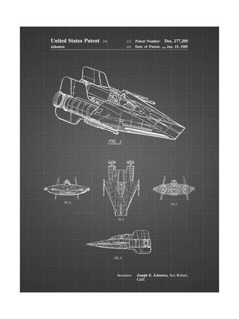 PP97-Black Grid Star Wars RZ-1 A Wing Starfighter Patent Poster