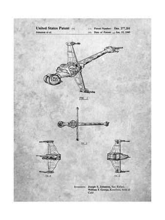 PP96-Slate Star Wars B-Wing Starfighter Patent Poster