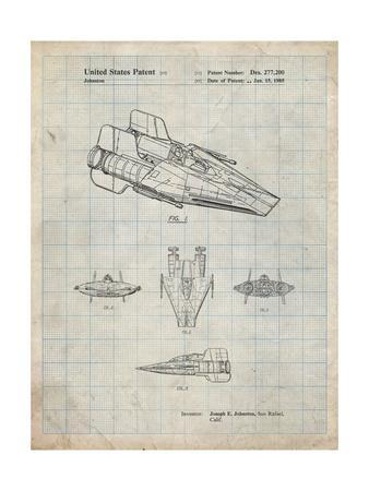PP97-Antique Grid Parchment Star Wars RZ-1 A Wing Starfighter Patent Poster