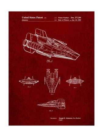 PP97-Burgundy Star Wars RZ-1 A Wing Starfighter Patent Poster
