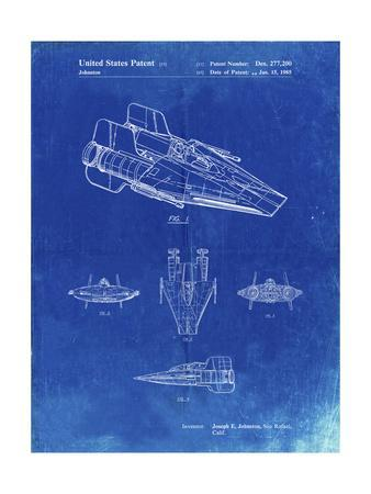 PP97-Faded Blueprint Star Wars RZ-1 A Wing Starfighter Patent Poster