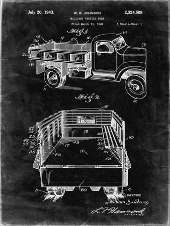 PP59-Black Grunge Army Troops Transport Truck Patent Poster