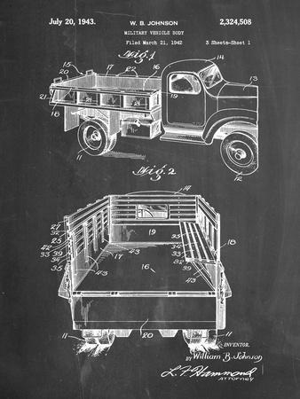 PP59-Chalkboard Army Troops Transport Truck Patent Poster