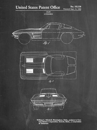 PP90-Chalkboard 1962 Corvette Stingray Patent Poster